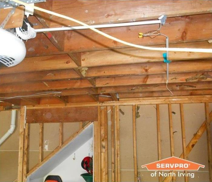 ceiling after water damage removed