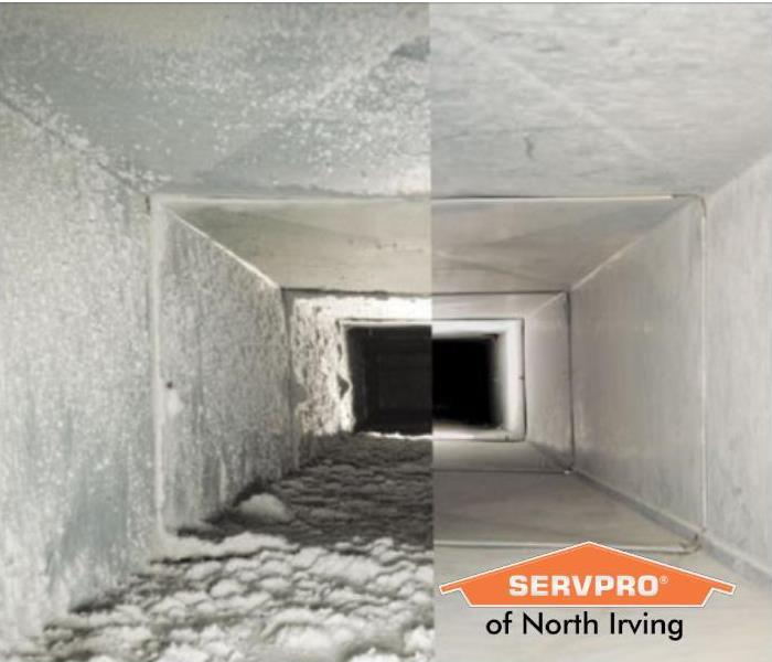 before and after image of a commercial air duct, dirty on the left and clean on the right
