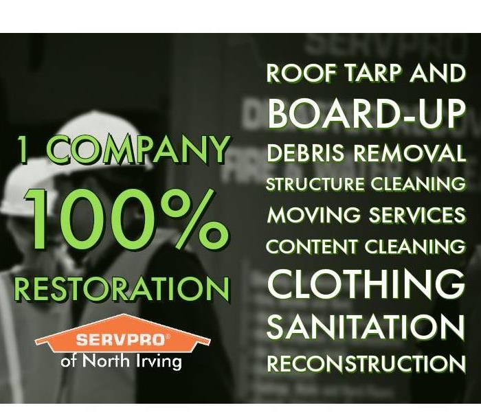 Servpro of North Irving logo with 1 Company 100% restoration text and services list with grayscale background of construction